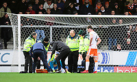 Blackpool's Mark Howard is lifted onto a stretcher after suffering an injury<br /> <br /> Photographer Chris Vaughan/CameraSport<br /> <br /> The EFL Sky Bet League One - Burton Albion v Blackpool - Saturday 16th March 2019 - Pirelli Stadium - Burton upon Trent<br /> <br /> World Copyright &copy; 2019 CameraSport. All rights reserved. 43 Linden Ave. Countesthorpe. Leicester. England. LE8 5PG - Tel: +44 (0) 116 277 4147 - admin@camerasport.com - www.camerasport.com