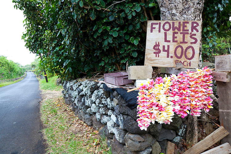 Flower leis for sale on the road beyond Hana to Kaupo