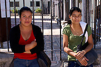 Two young Honduran women in the Spanish colonial town of Gracias, Lempira, Honduras...