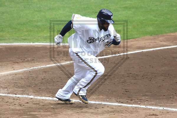 MILWAUKEE - JULY 2010: Prince Fielder (28) of the Milwaukee Brewers during a game on July 28, 2010 at Miller Park in Milwaukee, Wisconsin. (Photo by Brad Krause)