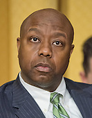 """United States Senator Tim Scott (Republican of South Carolina) listens as John Koskinen, Commissioner, Internal Revenue Service, testifies before the United States Senate Committee on Finance on """"IRS Operations and the President's Budget for Fiscal Year 2016"""" in Washington, D.C. on Tuesday, February 3, 2015.  During his testimony, Koskinen said """"In regard to software, we still have applications that were running when John F. Kennedy was President.""""<br /> Credit: Ron Sachs / CNP"""