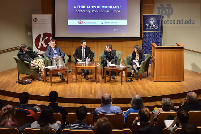 "January 30, 2017; The Nanovic and Kellogg Institutes co-hosted a panel discussion: ""A Threat to Democracy? Right-Wing Populism in Europe."" (Photo by Matt Cashore/University of Notre Dame)(Photo by Matt Cashore/University of Notre Dame)"