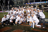 Notre Dame poses with the trophy after the NCAA Men's College Cup final at PPL Park in Chester, PA.  Notre Dame defeated Maryland, 2-1.