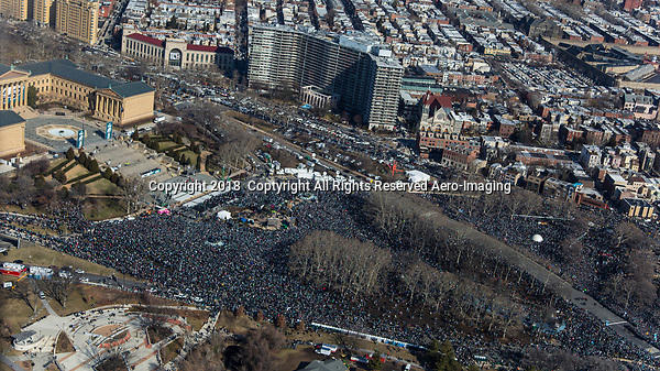 A Sea of people jam in front of the Philadelphia Museum of Art during the Philadelphia Eagles NFL football team Super Bowl victory parade Thursday, Feb. 8, 2018, in Philadelphia. The Eagles beat the New England Patriots 41-33 in Super Bowl 52.  (Julia Robertson/Via AP images)