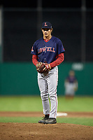 Lowell Spinners relief pitcher Kris Jackson (24) looks in for the sign during a game against the Batavia Muckdogs on July 16, 2018 at Dwyer Stadium in Batavia, New York.  Lowell defeated Batavia 4-3.  (Mike Janes/Four Seam Images)