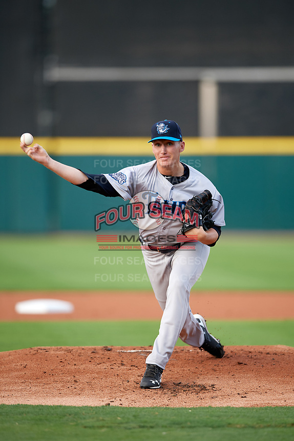 Tampa Tarpons starting pitcher Trevor Stephan (32) delivers a pitch during a game against the Lakeland Flying Tigers on April 5, 2018 at Publix Field at Joker Marchant Stadium in Lakeland, Florida.  Tampa defeated Lakeland 4-2.  (Mike Janes/Four Seam Images)