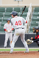Zach Kapstein (40) of the Greenville Drive at bat against the Kannapolis Intimidators at CMC-Northeast Stadium on April 6, 2014 in Kannapolis, North Carolina.  The Intimidators defeated the Drive 8-5.  (Brian Westerholt/Four Seam Images)