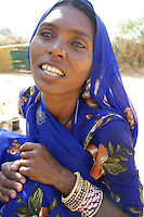 Babhu Dewi, member of the  Bopa cast , living in tents in the desert outside Pushkar, Rajastan, India