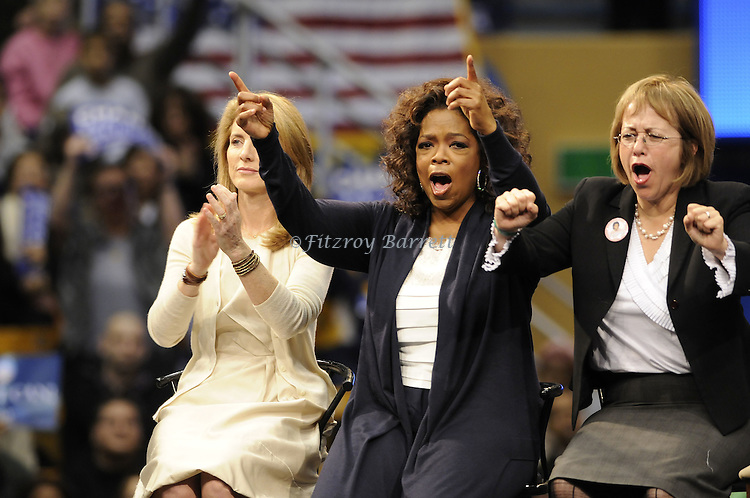 Caroline Kennedy and Oprah Winfrey takes the stage during a rally for Democratic presidential candidate US Senator Barack  Obama at UCLA's Pauley Pavilion in Los Angeles, California, February 3, 2008. Fitzroy Barrett