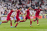 Hamid Ismaeil Khaleefa of Qatar (R2) celebrating his score with teammates during the AFC Asian Cup UAE 2019 Semi Finals match between Qatar (QAT) and United Arab Emirates (UAE) at Mohammed Bin Zaied Stadium  on 29 January 2019 in Abu Dhabi, United Arab Emirates. Photo by Marcio Rodrigo Machado / Power Sport Images