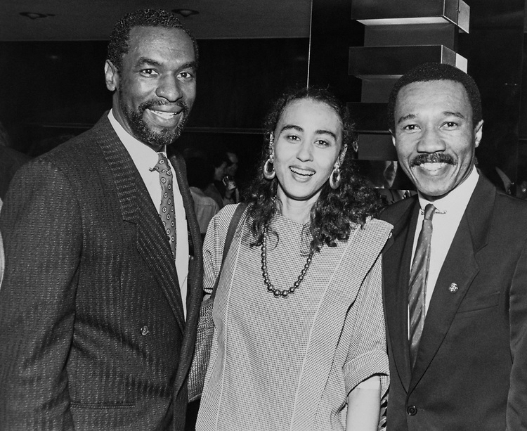 Rep. Kweisi Mfume, D-Md., with Rep. Floyd H. Flake, D-N.Y., and Michelle Stent at a United Negro College Fund event. (Photo by Andrea Mohin/CQ Roll Call via Getty Images)<br /> American Politician; Democrat; New York; Maryland; Politics; USA