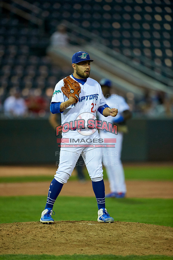 Antonio Hernandez (27) of the Ogden Raptors looks to first base against the Grand Junction Rockies at Lindquist Field on September 9, 2019 in Ogden, Utah. The Raptors defeated the Rockies 6-5. (Stephen Smith/Four Seam Images)
