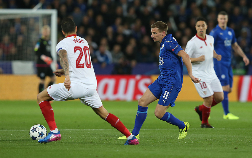 Leicester City's Marc Albrighton<br /> <br /> Photographer Stephen White/CameraSport<br /> <br /> UEFA Champions League Round of 16 Second Leg - Leicester City v Sevilla - Tuesday 14th March 2017 - King Power Stadium - Leicester <br />  <br /> World Copyright &copy; 2017 CameraSport. All rights reserved. 43 Linden Ave. Countesthorpe. Leicester. England. LE8 5PG - Tel: +44 (0) 116 277 4147 - admin@camerasport.com - www.camerasport.com