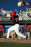 Batavia Muckdogs first baseman Erwin Almonte (25) at bat during a game against the Lowell Spinners on August 12, 2015 at Dwyer Stadium in Batavia, New York.  Batavia defeated Lowell 6-4.  (Mike Janes/Four Seam Images)