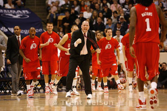Trent Nelson  |  The Salt Lake Tribune.Utah coach Jim Boylen gets ecstatic as Utah eats away at BYU's lead in the second half. BYU vs. Utah college basketball in Provo, Saturday, January 30, 2010.