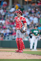 North Carolina State Wolfpack catcher Andrew Knizner (11) stands on the mound during the game against the Charlotte 49ers at BB&T Ballpark on March 31, 2015 in Charlotte, North Carolina.  The Wolfpack defeated the 49ers 10-6.  (Brian Westerholt/Four Seam Images)