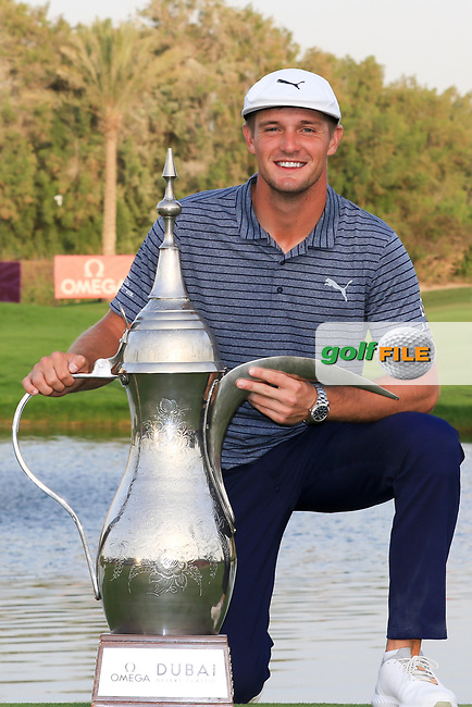 Bryson Dechambeau (USA) winner of the Omega Dubai Desert Classic, Emirates Golf Club, Dubai,  United Arab Emirates. 27/01/2019<br />