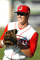 1B Chris McGuinness ( 2009 13th round DP) of the Lowell Spinners, the short season A (NY-P) affiliate of the Boston Red Sox ,at LeLacheur Park in Lowell, MA 8-30-09 (Photo by Ken Babbitt/Four Seam Images)