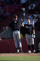 Ben Dellacono (16) of the Holy Cross Crusaders is greeted at home plate by teammate Riley Livingston (23) after hitting a 2-run home run against the South Carolina Gamecocks at Founders Park on February 15, 2020 in Columbia, South Carolina. The Gamecocks defeated the Crusaders 9-4.  (Brian Westerholt/Four Seam Images)