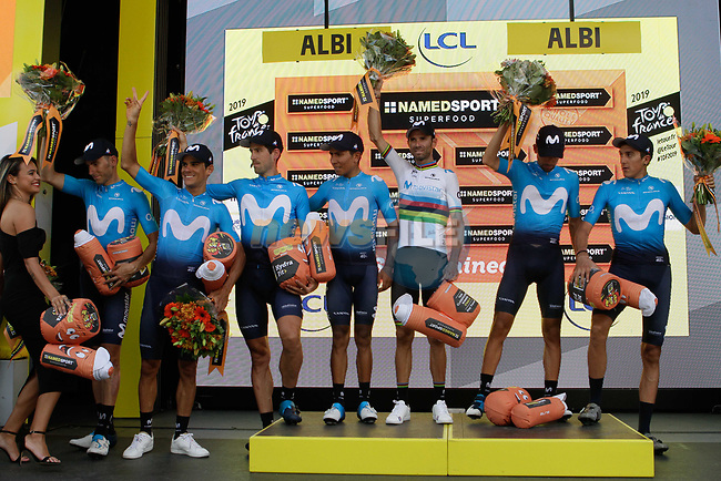 Movistar Team lead the team classification at the end of Stage 10 of the 2019 Tour de France running 217.5km from Saint-Flour to Albi, France. 15th July 2019.<br /> Picture: Colin Flockton | Cyclefile<br /> All photos usage must carry mandatory copyright credit (© Cyclefile | Colin Flockton)