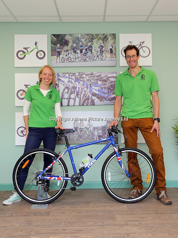 Pictured: Owners Jerry and Shelley Lawson with one of the bicycles in the colours of the British flag assembled at the plant  Monday 15 August 2016<br />Re: Frog Bikes in Mamhilad Estate Park in Pontypool, Wales, UK
