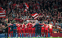 Bayern Munich supporters with players at full time during the UEFA Champions League group match between Tottenham Hotspur and Bayern Munich at Wembley Stadium, London, England on 1 October 2019. Photo by Andy Rowland.