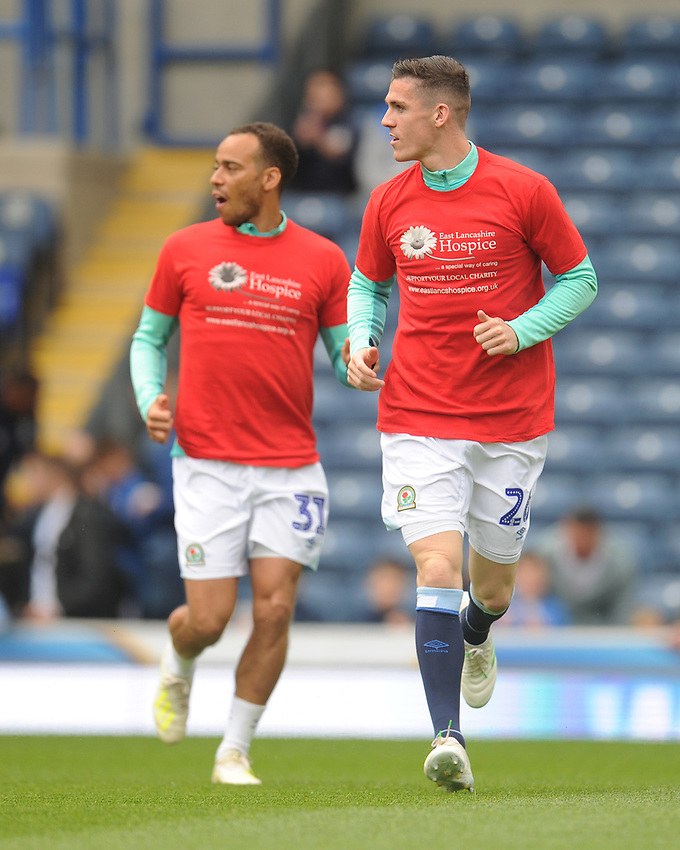 Blackburn Rovers' Darragh Lenihan (right) and Elliott Bennett during the pre-match warm-up <br /> <br /> Photographer Kevin Barnes/CameraSport<br /> <br /> The EFL Sky Bet Championship - Blackburn Rovers v Swansea City - Sunday 5th May 2019 - Ewood Park - Blackburn<br /> <br /> World Copyright © 2019 CameraSport. All rights reserved. 43 Linden Ave. Countesthorpe. Leicester. England. LE8 5PG - Tel: +44 (0) 116 277 4147 - admin@camerasport.com - www.camerasport.com