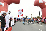 The start of Stage 5 of the 2019 UAE Tour, running 181km form Sharjah to Khor Fakkan, Dubai, United Arab Emirates. 28th February 2019.<br /> Picture: LaPresse/Fabio Ferrari | Cyclefile<br /> <br /> <br /> All photos usage must carry mandatory copyright credit (&copy; Cyclefile | LaPresse/Fabio Ferrari)