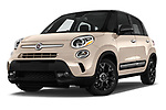 Stock pictures of low aggressive front three quarter view of 2016 Fiat 500L Trekking 5 Door Mini MPV Low Aggressive