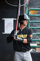 Tyler Filliben (14) of the West Virginia Power waits for his turn to bat during the game against the Hickory Crawdads at L.P. Frans Stadium on August 15, 2015 in Hickory, North Carolina.  The Power defeated the Crawdads 9-0.  (Brian Westerholt/Four Seam Images)