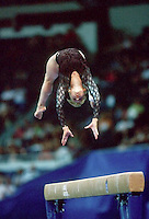 July 22, 1998; New York, NY, USA;  Artistic gymnast Olga Teslenko of Ukraine performs on balance beam at 1998 Goodwill Games New York. Copyright 1998 Tom Theobald