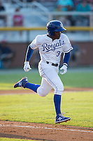 Jonathan McCray (3) of the Burlington Royals hustles down the first base line against the Princeton Rays at Burlington Athletic Stadium on June 24, 2016 in Burlington, North Carolina.  The Rays defeated the Royals 16-2.  (Brian Westerholt/Four Seam Images)
