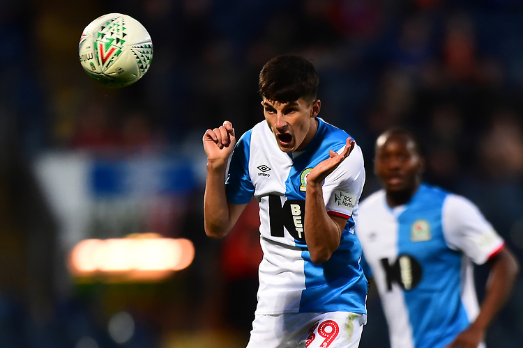 Blackburn Rovers' John Buckley in action<br /> <br /> Photographer Richard Martin-Roberts/CameraSport<br /> <br /> The Carabao Cup First Round - Tuesday 13th August 2019 - Blackburn Rovers v Oldham Athletic - Ewood Park - Blackburn<br />  <br /> World Copyright © 2019 CameraSport. All rights reserved. 43 Linden Ave. Countesthorpe. Leicester. England. LE8 5PG - Tel: +44 (0) 116 277 4147 - admin@camerasport.com - www.camerasport.com