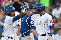 Round Rock Express second baseman Yangervis Solarte #19 after his first inning home run in the MLB exhibition baseball game against the Texas Rangers on April 2, 2012 at the Dell Diamond in Round Rock, Texas. The Rangers out-slugged the Express 10-8. (Andrew Woolley / Four Seam Images).