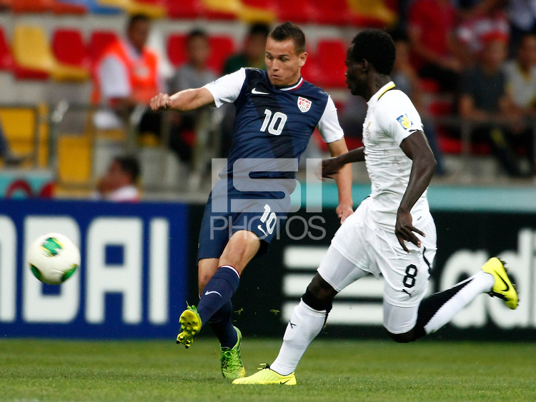Ghana's Seidu Salifu (R) and USA's Luis Gil (L) during their FIFA U-20 World Cup Turkey 2013 Group Stage Group A soccer match Ghana betwen USA at the Kadir Has stadium in Kayseri on June 27, 2013. Photo by Aykut AKICI/isiphotos.com