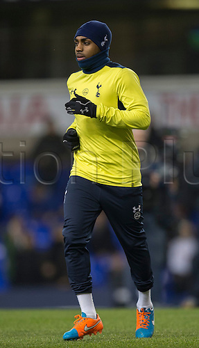 01.01.2015.  London, England. Barclays Premier League. Tottenham versus Chelsea. Tottenham Hotspur's Danny Rose is wrapped up on a cold evening.