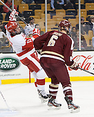 Mike Moran (BU - 11), Steven Santini (BC - 6) - The Boston College Eagles defeated the Boston University Terriers 3-1 (EN) in their opening round game of the 2014 Beanpot on Monday, February 3, 2014, at TD Garden in Boston, Massachusetts.