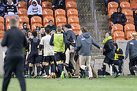 Houston, TX - Friday December 9, 2016: The Wake Forest Demon Deacons celebrate with Ian Harkes after he scored the winning goal against the the Denver Pioneers at the NCAA Men's Soccer Semifinals at BBVA Compass Stadium in Houston Texas.