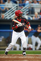 Batavia Muckdogs third baseman Javier Lopez (5) squares to bunt during a game against the Auburn Doubledays on September 5, 2015 at Dwyer Stadium in Batavia, New York.  Batavia defeated Auburn 6-3.  (Mike Janes/Four Seam Images)