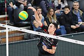 20th March 2018, PalaTrento, Trento, Italy; CEV Volleyball Champions League, playoffs, 1st leg; Trentino Diatec versus Chaumont VB 52 Haute Marne; 15 Bryan Duquette CAN with a kill over the net
