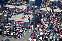 WWE Champion Jinder Mahal (on back) fights against Randy Orton at a WWE Live Summerslam Heatwave Tour event at the MassMutual Center in Springfield, Massachusetts, USA, on Mon., Aug. 14, 2017. Mahal lost the match.