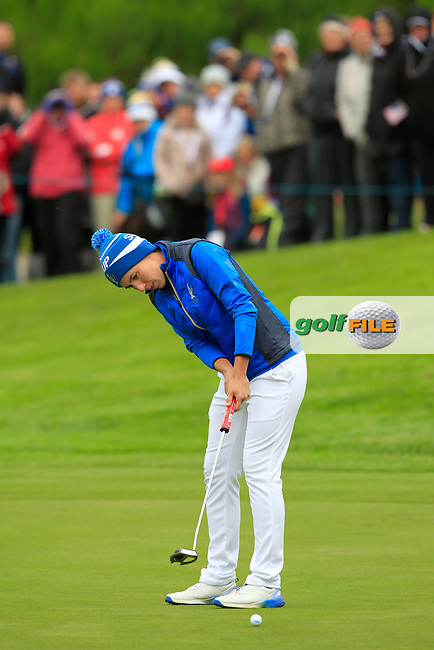 Carlota Ciganda (EUR) on the 1st green during Day 3 Singles at the Solheim Cup 2019, Gleneagles Golf CLub, Auchterarder, Perthshire, Scotland. 15/09/2019.<br /> Picture Thos Caffrey / Golffile.ie<br /> <br /> All photo usage must carry mandatory copyright credit (© Golffile | Thos Caffrey)