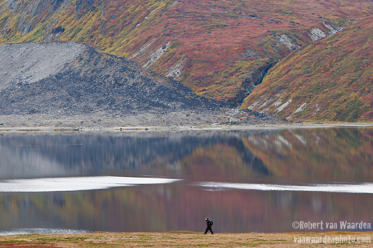 A woman walks along the shore of Tasermiut Fjord in Southern Greenland. The woman is part of the Cape Farewell Youth Expedition that was organized by the British Council of Canada. In the background, the colourful dwarf birch and dwarf willow decorate the landscape.