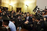 Milano:  Nicolò Ghedini risponde ai cronisti dopo la lettura della sentenza del processo Mills. Il reato è stato prescritto per decadenza dei termini...Milan: Niccolo' Ghedini (lawyer of Berlusconi) speaks with the press after the reading of the verdict for the case where the former Italian Prime Minister Silvio Berlusconi stands accused of bribing British lawyer David Mills waits the reading of the verdict in a case where Silvio Berlusconi was accused of bribing British lawyer David Mills..The court has ruled that the statute of limitations has run out in the corruption case against Silvio Berlusconi