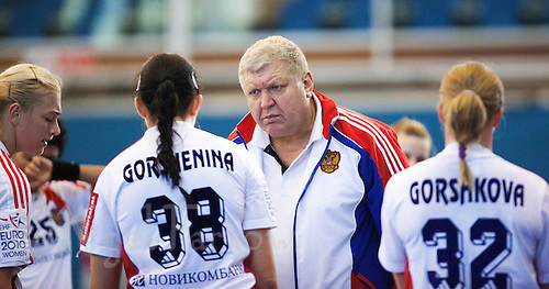 22 OCT 2011 - LONDON, GBR - Russia's Head Coach, Evgeny Trefilov, offers some advice to his team during the Women's 2012 European Handball Championship qualification match against Britain at the National Sports Centre at Crystal Palace.(PHOTO (C) NIGEL FARROW)