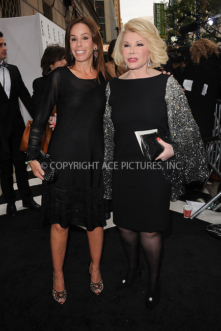 WWW.ACEPIXS.COM . . . . . .April 30, 2012...New York City.... Melissa Rivers and Joan Rivers arriving to attend the E! 2012 Upfront at Gotham Hall on April 30, 2012  in New York City ....Please byline: KRISTIN CALLAHAN - ACEPIXS.COM.. . . . . . ..Ace Pictures, Inc: ..tel: (212) 243 8787 or (646) 769 0430..e-mail: info@acepixs.com..web: http://www.acepixs.com .