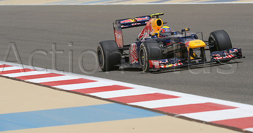 20.04.2012 Australian Formula One driver Mark Webber of Red Bull steers his car during the first practice session on the Bahrain International Circuit in Sakhir, near Manama, Bahrain.