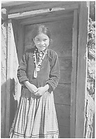 """Diné Girl, Canyon de Chelle, Arizona."""" [Canyon de Chelly National Monument] (vertical orientation);<br /> From the series Ansel Adams Photographs of National Parks and Monuments, compiled 1941 - 1942, documenting the period ca. 1933 - 1942."""