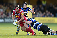 Dave Ward of Harlequins looks to offload the ball after being tackled. Aviva Premiership match, between Bath Rugby and Harlequins on November 25, 2017 at the Recreation Ground in Bath, England. Photo by: Patrick Khachfe / Onside Images
