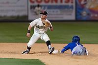 Visalia Rawhide second baseman Camden Duzenack (1) during a California League game against the Rancho Cucamonga Quakes on April 9, 2019 in Visalia, California. Visalia defeated Rancho Cucamonga 8-5. (Zachary Lucy/Four Seam Images)
